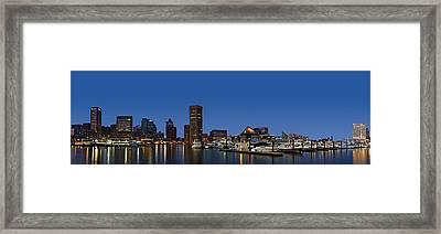 Baltimore Harbor Skyline Twilight Panorama  Framed Print by Susan Candelario
