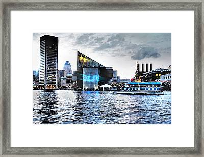 Baltimore - Harborplace - Inner Harbor At Night  Framed Print by Donna Haggerty