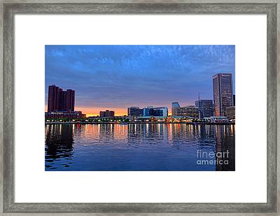 Baltimore Inner Harbor At Dusk Framed Print by Olivier Le Queinec