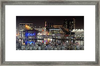 Baltimore Inner Harbor At Night Framed Print by Brendan Reals