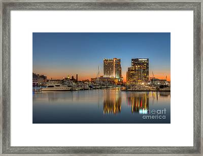 Baltimore Inner Harbor East Skyline At Dawn I Framed Print by Clarence Holmes