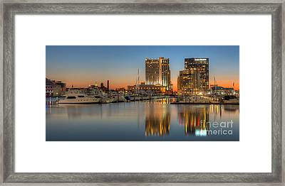 Baltimore Inner Harbor East Skyline At Dawn Panoramic I Framed Print by Clarence Holmes