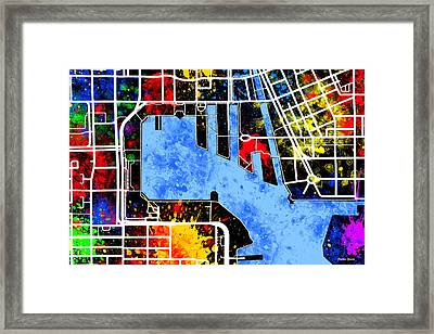 Baltimore Inner Harbor Map Framed Print by Stephen Younts