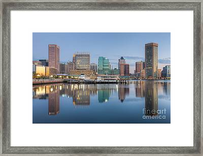 Baltimore Inner Harbor Skyline At Dawn I Framed Print by Clarence Holmes