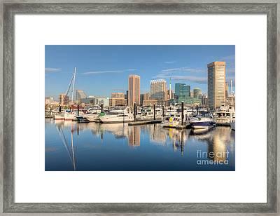 Baltimore Inner Harbor Skyline II Framed Print by Clarence Holmes