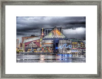Baltimore Inner Harbor National Aquarium Skyline At Night Framed Print by Marianna Mills