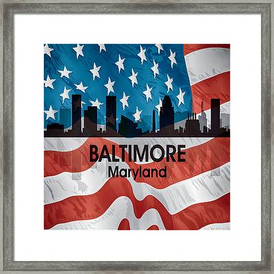 Baltimore Md American Flag Squared Framed Print by Angelina Vick