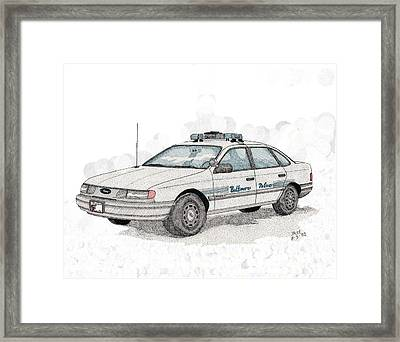 Baltimore Police Car Framed Print by Calvert Koerber