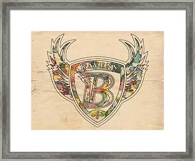 Baltimore Ravens Logo Vintage Framed Print