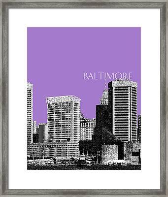 Baltimore Skyline 1 - Violet Framed Print by DB Artist