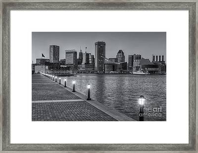 Baltimore Skyline At Twilight II Framed Print by Clarence Holmes