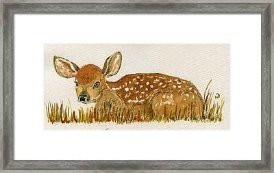 Bambi Deer Framed Print by Juan  Bosco
