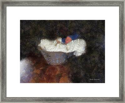 Bambino In A Basket Photo Art Framed Print by Thomas Woolworth