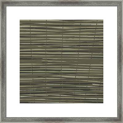 Bamboo Fence - Gray And Beige Framed Print