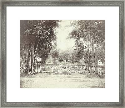 Bamboo Garden And Pond With A House, Anonymous Framed Print