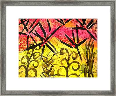 Bamboo In The Wind Framed Print by Joan Reese
