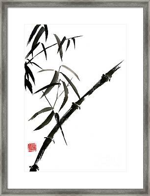 Bamboo Japanese Chinese Sumi-e Suibokuga Tree Watercolor Original Ink Painting Framed Print by Mariusz Szmerdt