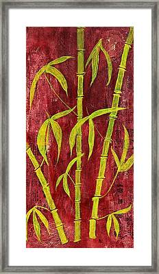 Bamboo On Red Framed Print by Bellesouth Studio