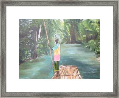 Bamboo Raft Ride Framed Print
