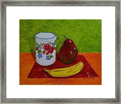 Banana Pear And Vase Framed Print