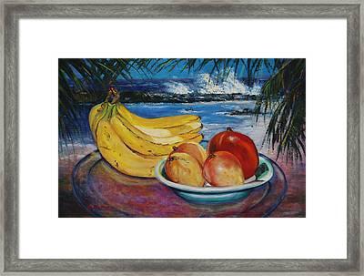 Bananas And Mangoes At Jobo Beach Isabela Framed Print by Estela Robles