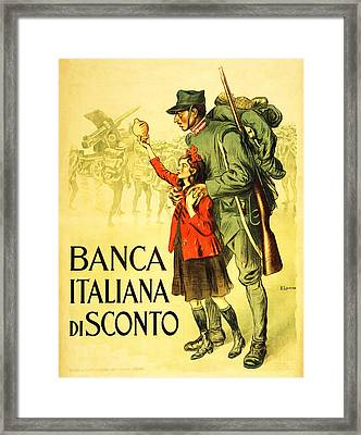 Banca Italiana Di Sconto, 1917 Framed Print by Enrico della Lionne