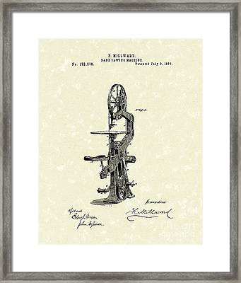 Band Saw 1877 Patent Art Framed Print