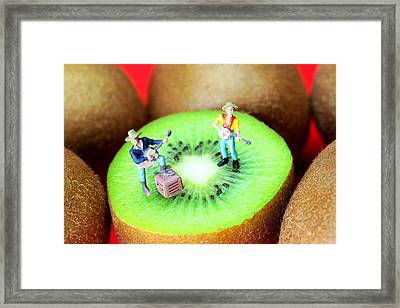 Band Show On Kiwi Fruits Little People On Food Framed Print by Paul Ge