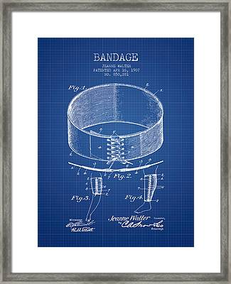Bandage Patent From 1907 - Blueprint Framed Print by Aged Pixel