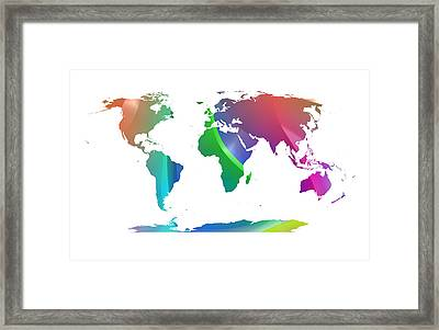 Banded Gradient World Map Framed Print