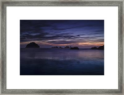 Bandon Beach At Twilight Framed Print by Andrew Soundarajan