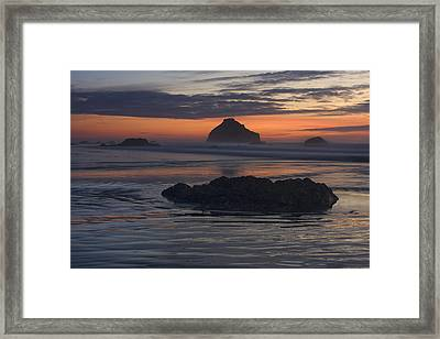 Bandon Beach Face Rock Sunset Framed Print by Mark Kiver
