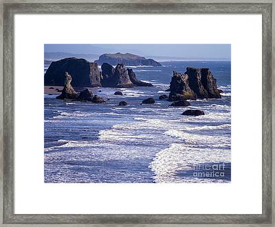 Bandon Beach Seastacks 6 Framed Print by Tracy Knauer