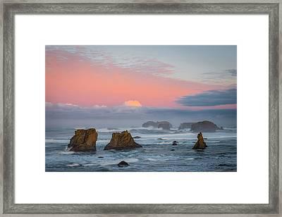 Bandon Beach Sunrise Framed Print by Mike  Walker