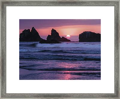 Bandon Beach Sunset Framed Print by Jean Noren