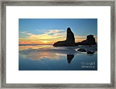 Bandon Oregon Sunset Framed Print by Adam Jewell