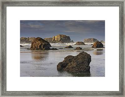 Bandon Sea Stacks Framed Print by Mark Kiver