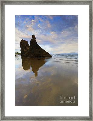 Bandon Stacks Sunset Framed Print by Mike  Dawson