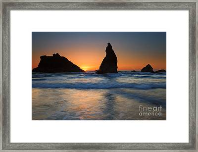 Bandon Sundown Framed Print by Mike  Dawson