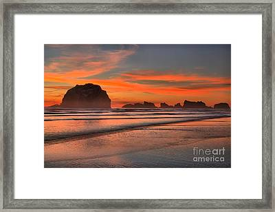 Bandon Sunset And Surf Framed Print by Adam Jewell