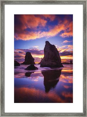 Bandon's Sunset Light Show Framed Print