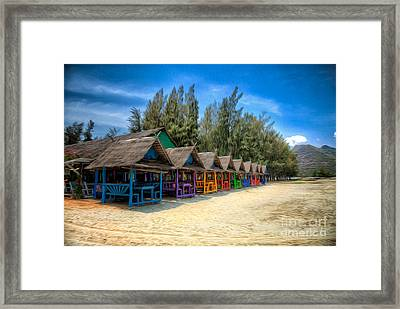 Bang Pu Beach Huts Framed Print