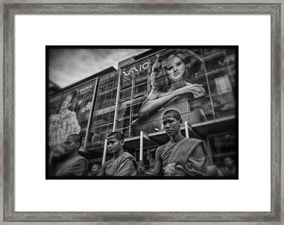 Bangkok Mall Monks Framed Print by David Longstreath