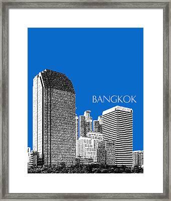 Bangkok Thailand Skyline 2 - Blue Framed Print by DB Artist