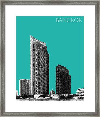 Bangkok Thailand Skyline 3 - Teal Framed Print by DB Artist