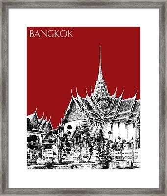 Bangkok Thailand Skyline Grand Palace - Dark Red Framed Print by DB Artist