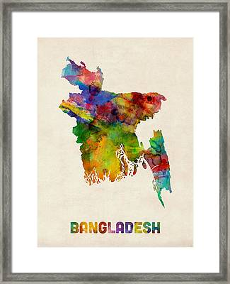 Bangladesh Watercolor Map Framed Print by Michael Tompsett