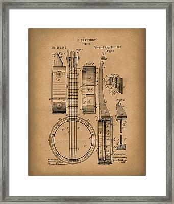 Banjo 1882 Patent Art Brown Framed Print