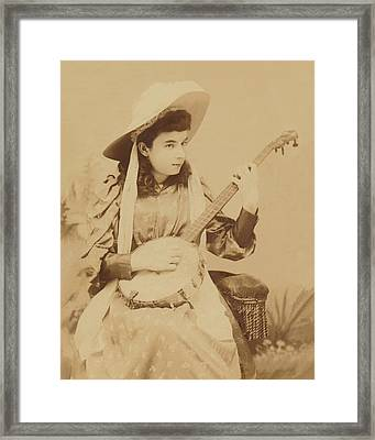 Banjo Girl 1880s Framed Print