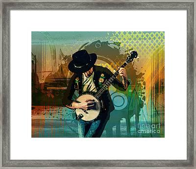 Banjo Man Framed Print by Bedros Awak